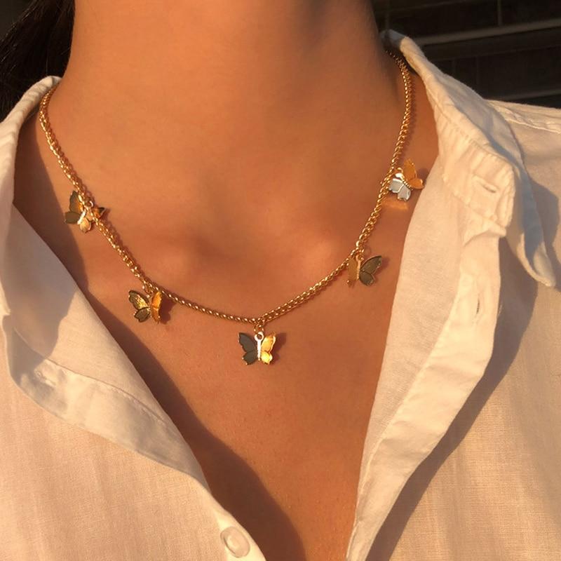 Винтажный многослойный кулон ожерелье бабочки для женщин бабочки Шарм с Луной и звездой Колье Бохо модное ювелирное изделие, подарок