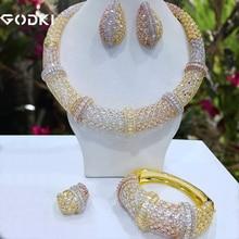 GODKI Conjunto de joyería para mujer, 4 Uds. De nudo de bambú, conjunto de joyería nigeriana para mujer, circonio de boda, conjunto de joyería nupcial India Africana 2018