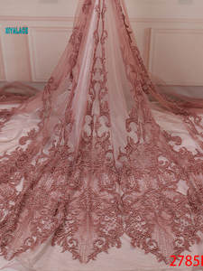 Lace-Fabric Party-Dress French African Nigerian Hot for YA2785B-3 Beaded Tulle Handmade