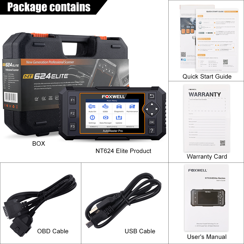 Image 5 - Foxwell NT624 Elite OBD2 Full System Diagnostic Tool ABS SRS SAS Oil EPB Servic Reset ODB2 OBD2 Automotive Scanner Free UpdateCode Readers & Scan Tools   -