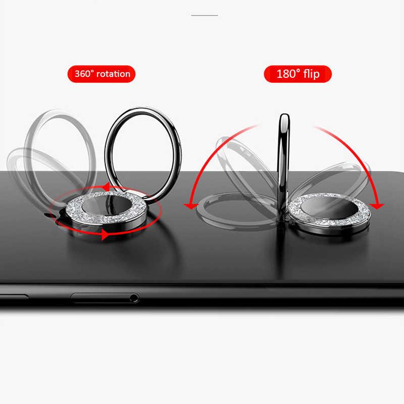 النساء الاصبع الهاتف حلقة حامل ل iphone سامسونج xiaomi mi8 مشرق الكريستال 360 درجة العالمي المعادن حامل مغناطيسي حامل