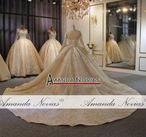 Image 4 - אמנדה Novias מותג חתונה שמלה באיכות גבוהה תחרה העבודה האמיתית דובאי שמלות כלה