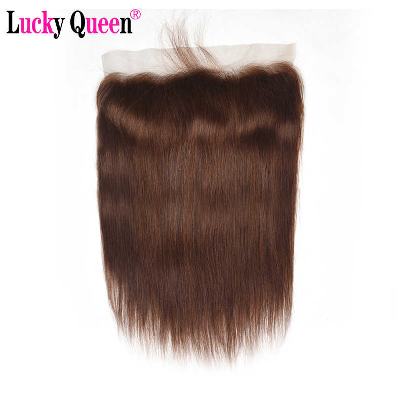 Brazilian Straight Hair 13*4 Frontal With Baby Hair #2/#4 Remy Human Hair Ear To Ear Lace Frontal Closure Pre Plucked Lucky Quee
