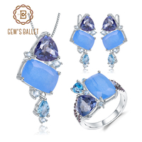 GEM'S BALLET Natural Aqua blue Calcedony Candy Irregular Jewelry 925 Sterling Silver Ring Earrings Pendant Jewelry Set For Women