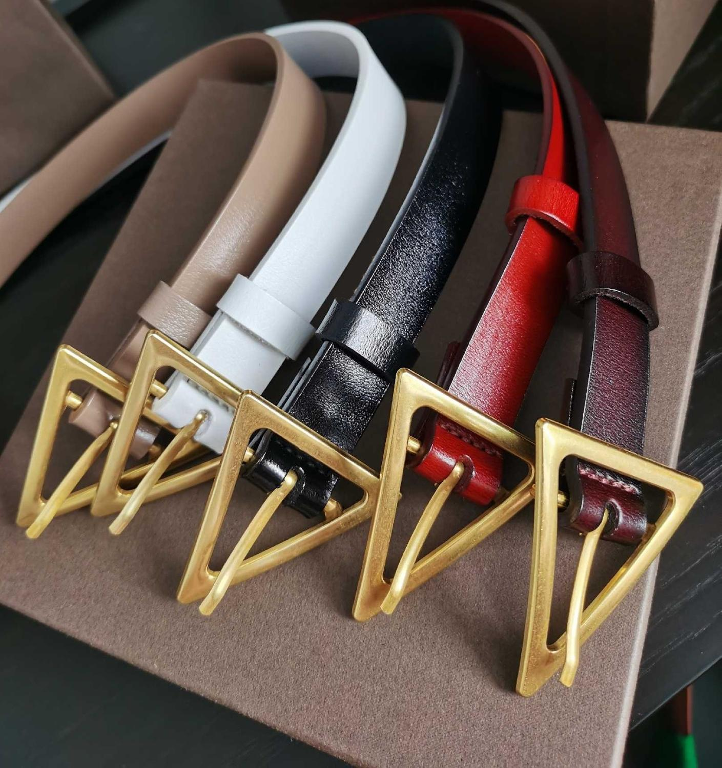 Female leather belt 2020 luxury designer ladies black triangle copper gold buckle ins style belts cinturon mujer brown red 110
