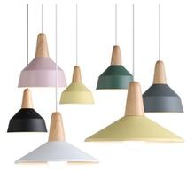 Nordic Design Macarons Color Postmodern Restaurant E27 bulb Personality home decor lighting Single Head Wood Pendant lamp