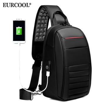 EURCOOL multifunción bolso de hombro para hombres bolso de negocios tipo bandolera USB diseño de carga bolsa de pecho bolsa de mensajero impermeable para hombre n1908