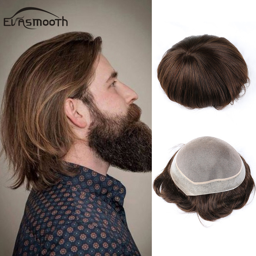 6inch Ldness Men Toupee Male Hair Prosthesis StraigHuman Remy Hair Wigs Mono Swiss Lace Natural Hair Toupee Replacement For Men