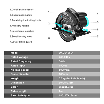 DEKO DKCS185L1 185mm, 1500W Electric Circular Saw,Multifunctional Cutting Machine, With Laser Guide and Auxiliary Handle 3