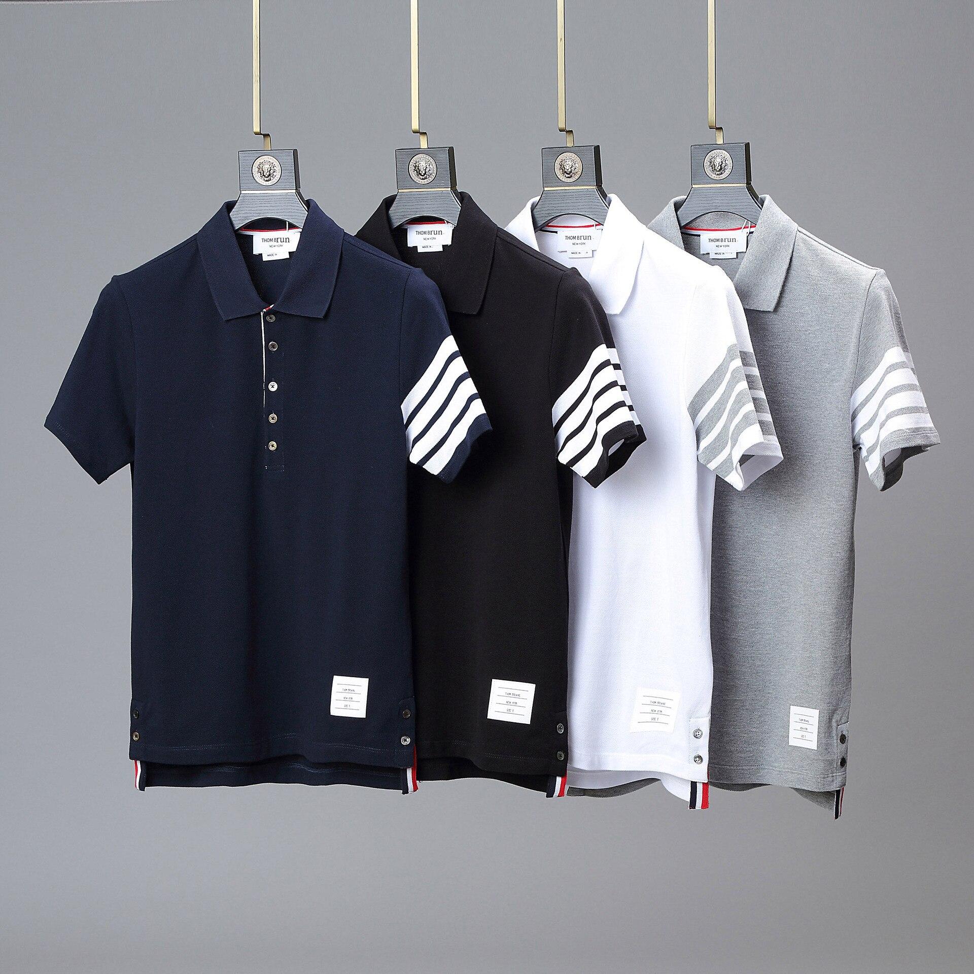 Рубашка-поло TB THOM для мужчин и женщин, брендовая хлопковая приталенная блузка в полоску с коротким рукавом, корейский дизайн, для пар
