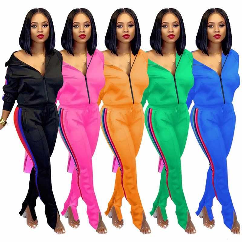 Plus Size 2019 Nieuwe Roze Brief Print Tweedelige Set Sportkleding Trainingspak Vrouwen Hoge Hals Conjunto Feminino Sweatshirt Set Outfits