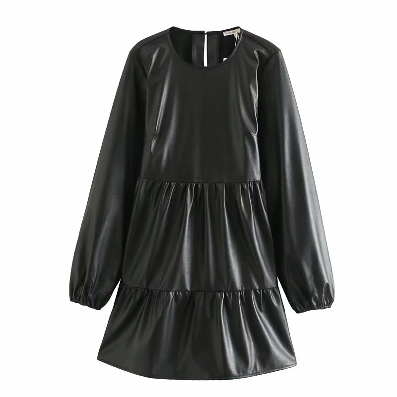 New 2020 women vintage o neck long sleeve pleat ruffles PU leather mini dress female basic leisure vestidos chic dresses DS3217