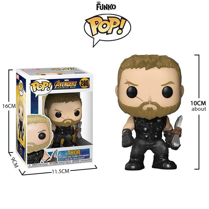 FUNKO POP Marvel Action Figures Avengers 3 Thanos Iron man Spider man Hulk Doctor Strange Thor Captain America Model Toys