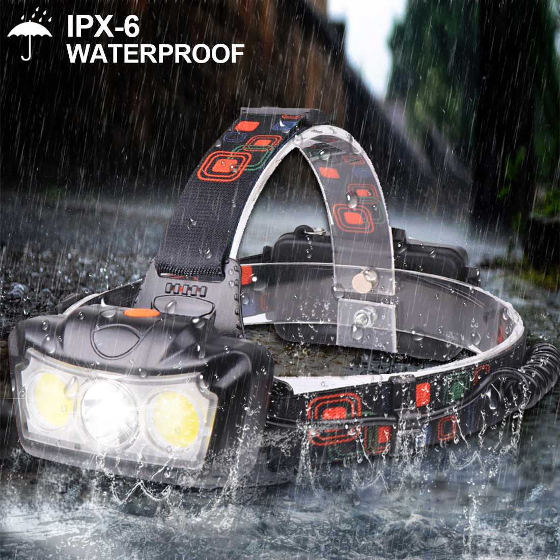 Süper parlak LED far T6 + COB LED far kafa lambası el feneri Torch Lanterna kafa ışık kullanımı 2*18650 pil kamp için