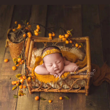 Newborn Photography Props Boy Vintage Woven Rattan Basket Baby Photo Shoot Furniture Posing Chair Photo Bebe  Accessoire Bed