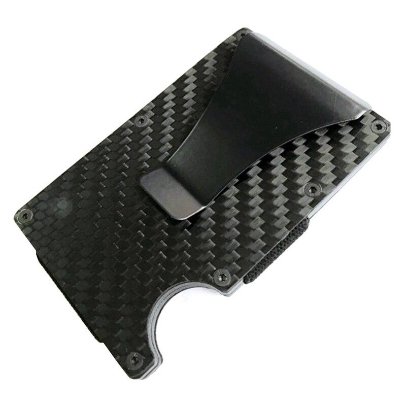 Новая мода Тонкий карбоновый держатель для кредитных карт RFID несканирующий металлический кошелек мужской Прямая - Цвет: BK