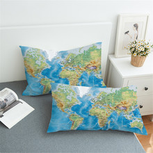 50X90CM World Map Bed Pillowcase Home Vivid Printed Blue Pillow Cover for Adults Pillow Case Microfiber Bedding creative blue eye world map pattern square shape flax pillowcase without pillow inner