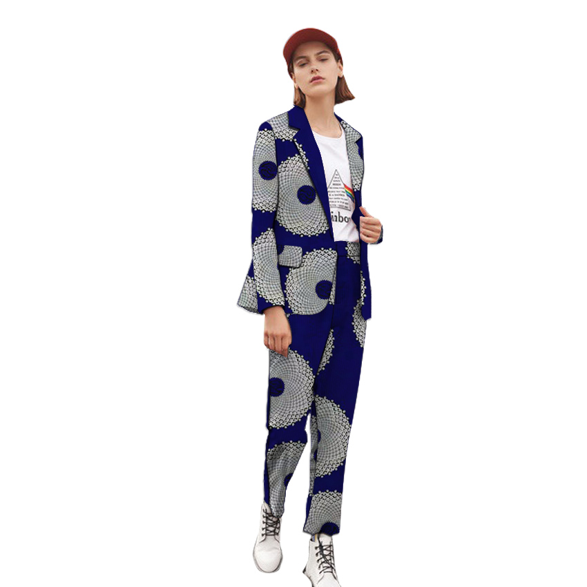 Women dashiki print blazers with trousers Ankara outfits fashion pant suits custom made female African groom suit