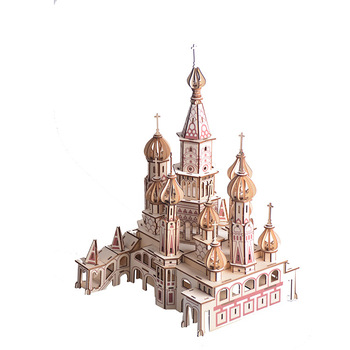 3D Wooden  Cathedral Jigsaw Woodcraft Kit DIY Construction Puzzle Toys for Children Wood craft Kids Kit Toy Model