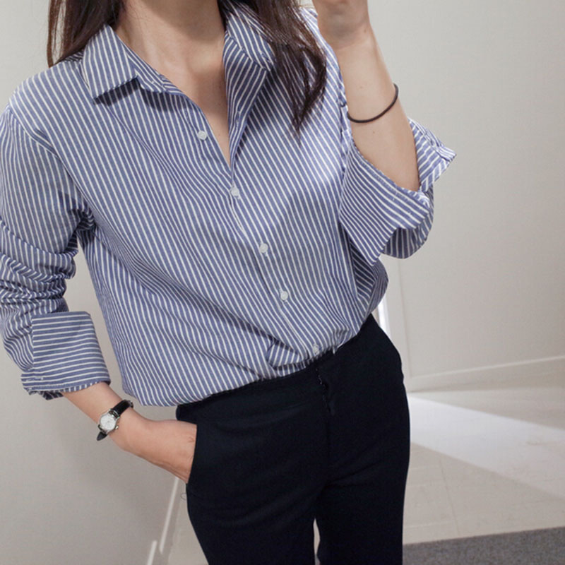 Blouses Women Striped Turn-down Collar Simple Ladies Workwear Casual Korean Style Loose Womens Clothing Shirts Vintage Harajuku