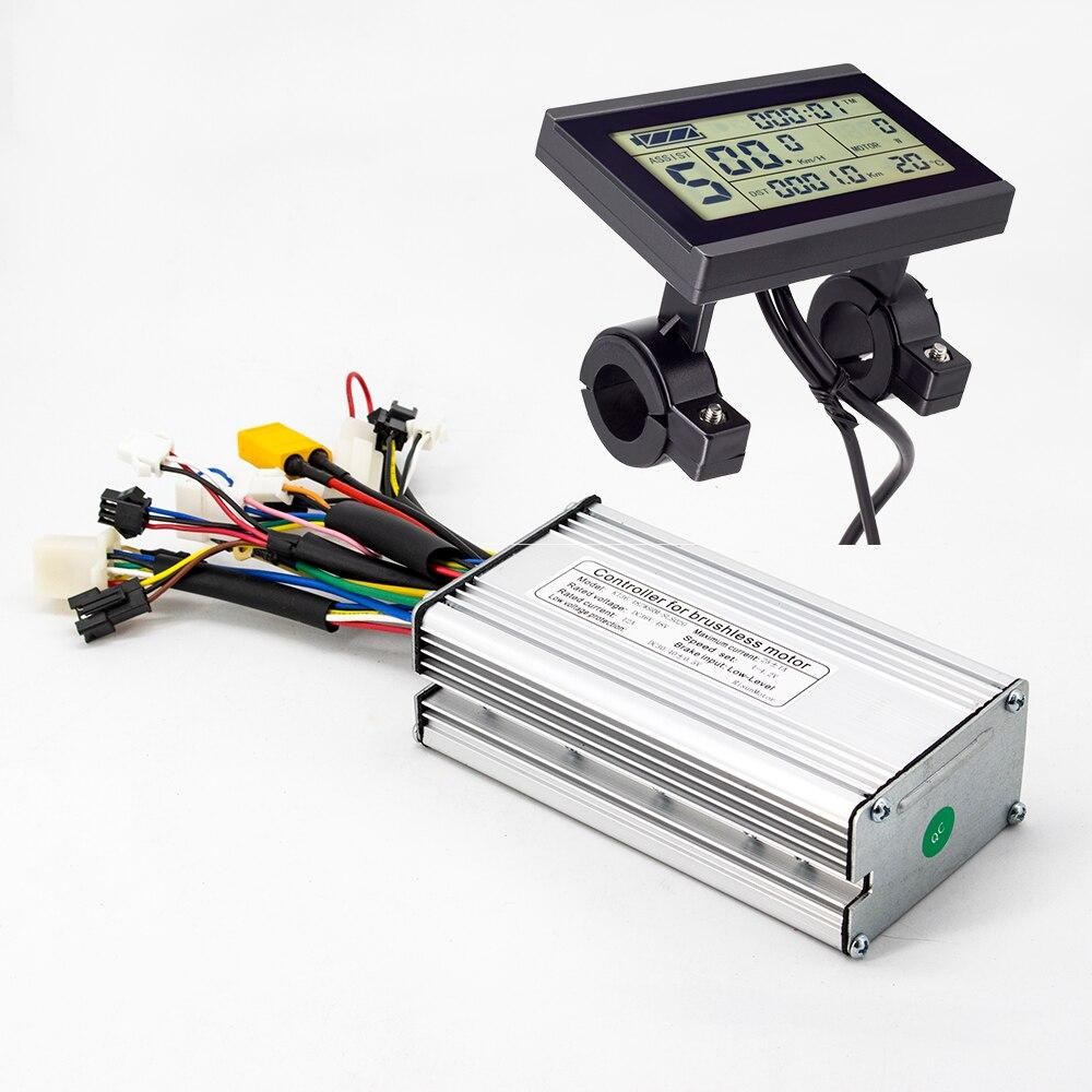 Ebike تحكم 36 فولت 48 فولت 500 واط 25A فرش 9 Mosfet مربع موجة تحكم مع KT LCD4 LCD5 LCD8H عرض دراجة كهربائية أجزاء