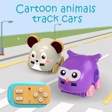 الكرتون الحيوان اليد التحكم التعريفي المسار RC سيارة للأطفال لفتة الاستشعار بعد الموسيقى سيارات لعب للأطفال لهدايا عيد الميلاد