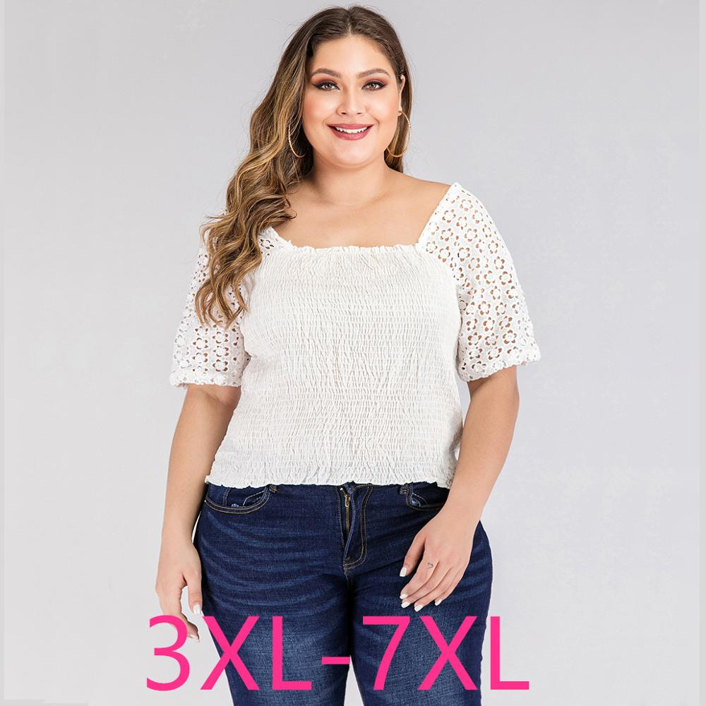 2020 Summer Plus Size Tops For Women Large Blouse Slim Casual Lace Elastic Backless Short Sleeve Shirt White 3XL 4XL 5XL 6XL 7XL
