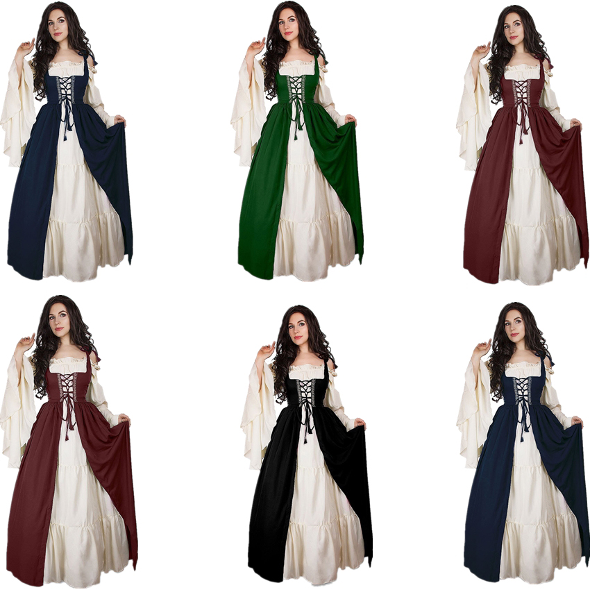 Medieval Dress Cosplay Halloween Costumes For Women Palace Carnival Party Disguise Princess Female Vestido Robe Plus Size Noble