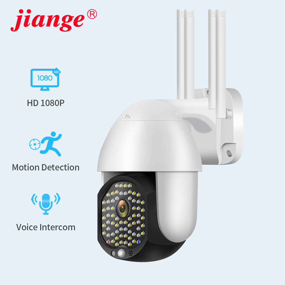 Jiange outdoor security camera wifi wireless <font><b>ip</b></font> 1080P 2020 new model upgrade <font><b>68</b></font> leds powerful night vision for outdoor use image