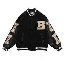 Inverno harajuku temperamento europeu e americano hip-hop impressão uniforme de beisebol feminino rua solta casaco de costura jaqueta