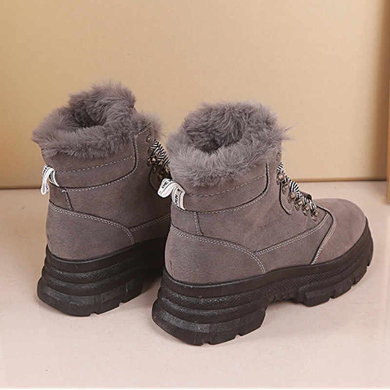 Bottes d'hiver pour femmes chaud fourrure épaisse baskets plate-forme en peluche chaussures de mode décontractée dames cheville Faux daim bottes minces femme