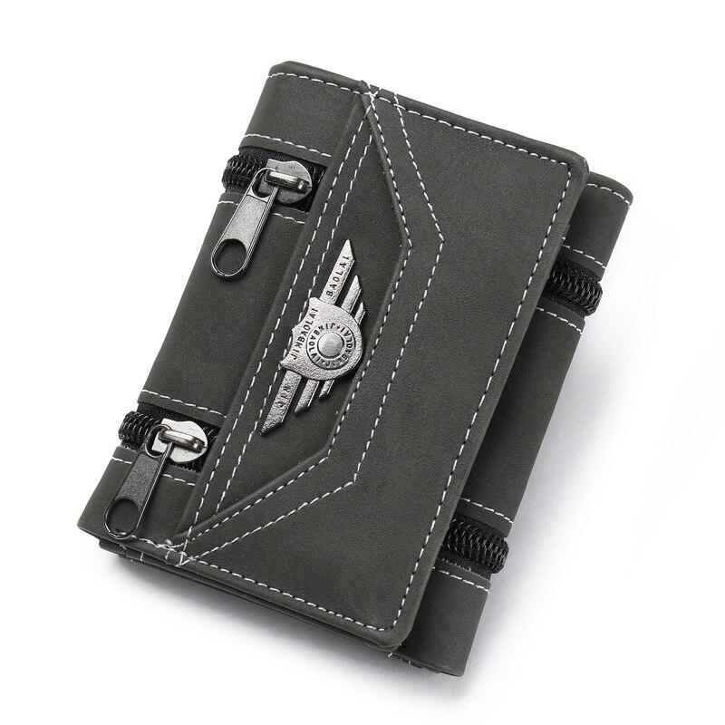 Модные кошельки с заклепками, винтажный Кошелек из искусственной кожи для мужчин, лаконичный качественный тонкий кошелек,, органайзер для денег и карт - Цвет: Black
