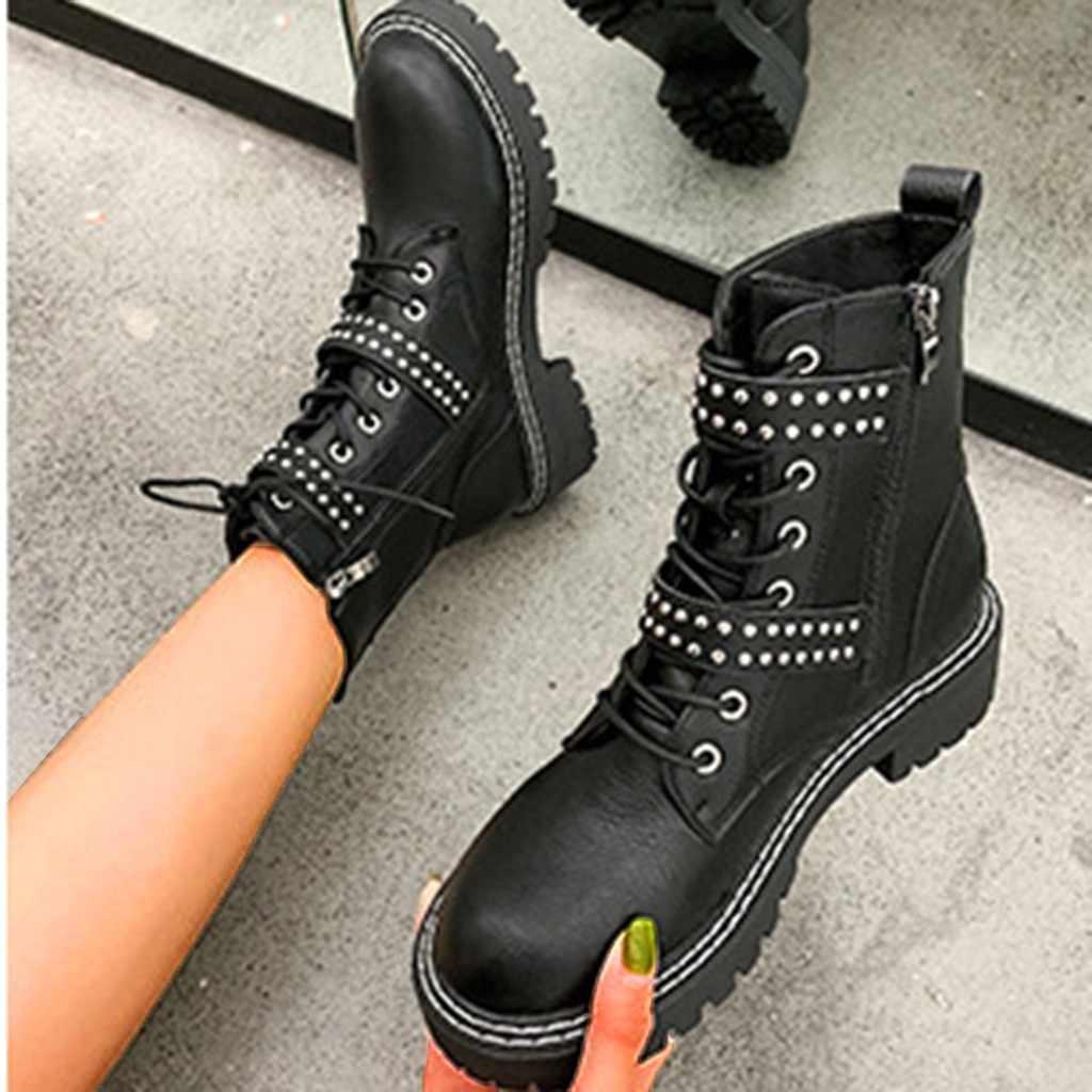 Çizmeler kadın kış perçin askeri Lace Up siyah deri yarım çizmeler orta topuk Goth tarzı kısa çizmeler sonbahar yüksek kalite # l10