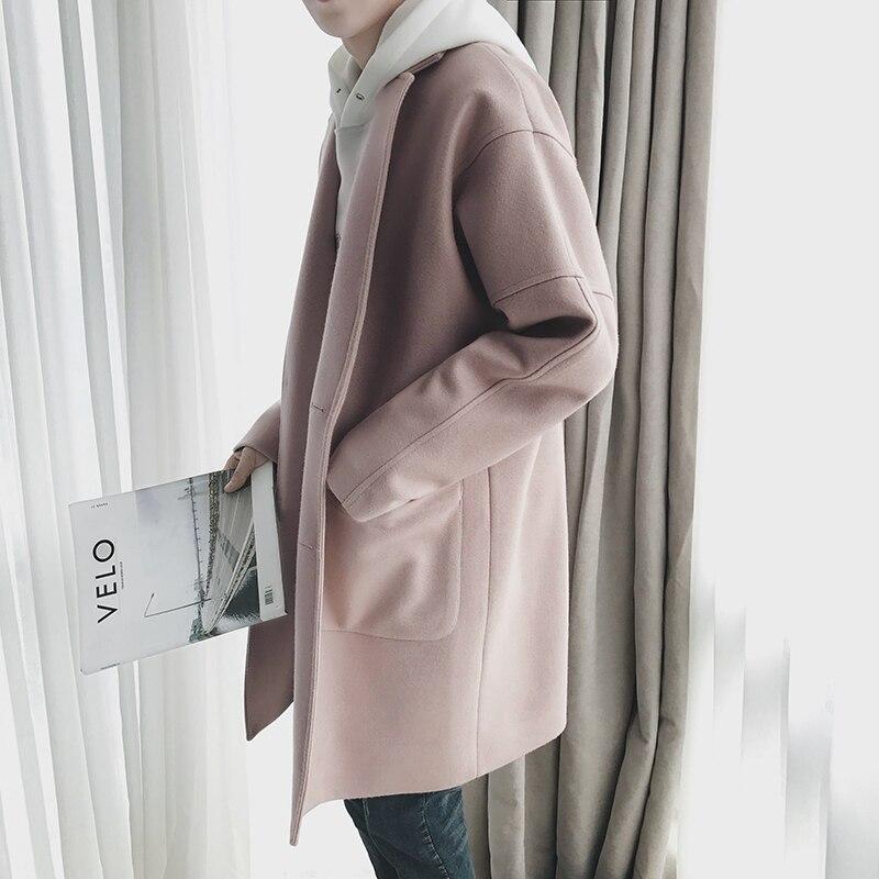 Image 2 - EWQ 2019 New Autumn Winter Men Wool Coat Casual Mid length Turn  down Collar Coats Fashion Overcoat Windbreaker Jackets HD563Wool