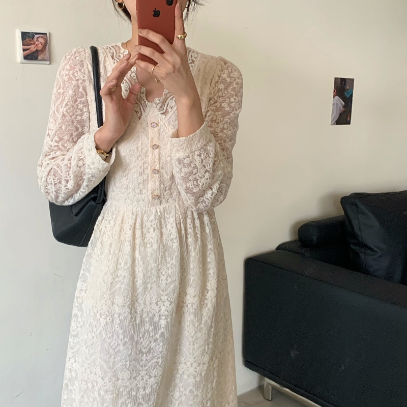 H04390e5604704e32a01ce5e29a27ed63s - Spring / Autumn V-Neck Long Sleeves Lace Midi Dress