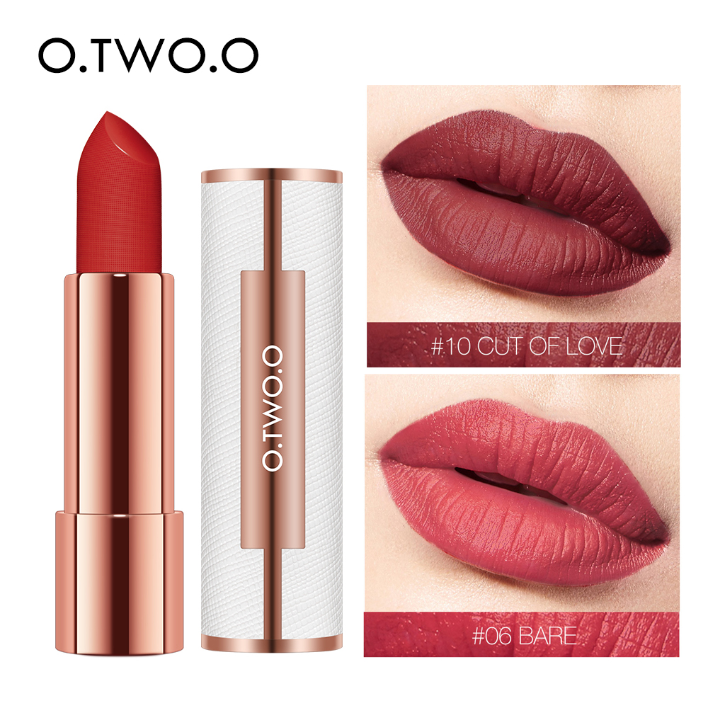 O.TWO.O Matte Lippenstift Nude Braun Rot Lippen Make-Up Samt Seidig Glatte Textur Langlebig Wasserdicht Lip Stick 12 Farben
