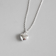 Pure 925 Sterling Silver Jewelry Smooth Love Heart Pendant Necklace Women Long Chain Sweet Statement Wedding Gift