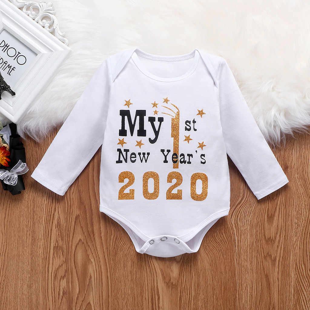 תינוקות יילוד תינוק בנות בני שמח חדש שנים בגד גוף Romper מכנסיים סט בגדי אופנה יוניסקס מכתב ארוך שרוול תינוק בגדים