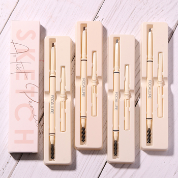 FOCALLURE Eyebrow Pencil Natural Long-Lasting 4 Colors Brown Grey Taupe Waterproof