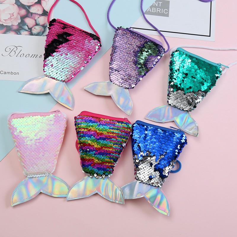 All Season New Baby Children Girls PU Sequin Fishtail Shape Bag 6 Colors Fashion Convenient High Quality Shoulder Messenger Bag