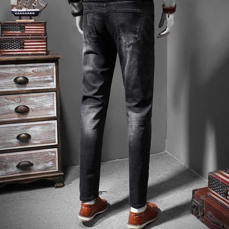 Mens Neue Denim Zwei Stück Outfits Mode Slim Fit Elastische Schwarz Einreiher Jeans Jacke Volle Länge Bleistift Hosen Plus größe