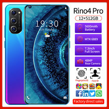 Rino4 Pro Smartphones Global Version 7.3 Inch Dual SIM Face Unlocking 12G 512G 24+48MP GPS 5600mh 5G LTE CellPhone In Stock