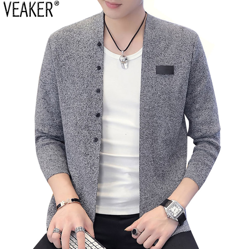 2019 Autumn New Men's Slim Fit Cardigans Sweater Male Solid Color Long Sleeve Cardigan Sweatercoat Casual Knitted Outerwear 3XL