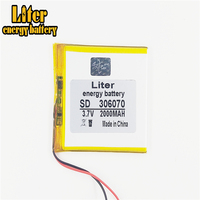306070 3.7V 2000mAh Rechargeable li Polymer Battery For  PDA GPS DVR E-Book Tablet PC Power Bank Wexler Book E6005 356070