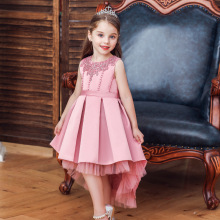 Summer Flower Girls Tulle Bow Long Tail Dresses for Wedding Kids Pagea