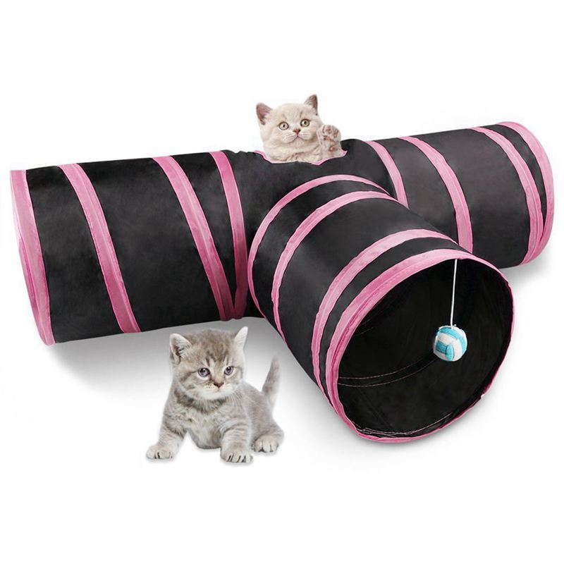 Cat Tunnel 3 Way Collapsible Pet Cat Play Tunnel with Ringing Ball, Spacious Tube Fun for Cat Puppy Kitten Pink + black image