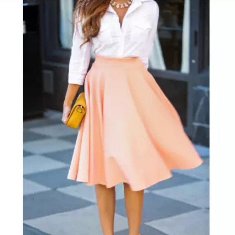 Women Vintage High Waist A-Line Skirts Ladies Pink Stretch Skater Flared Pleated Swing Skirt Plus Size S-XXL