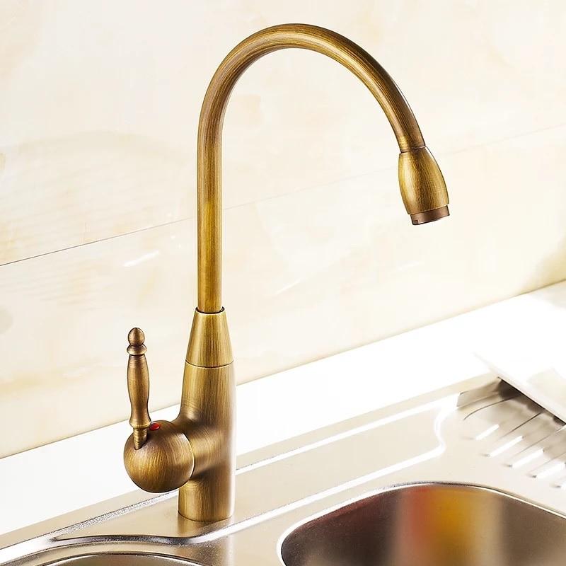 Kcasa Kc 9098 Retro Antique Brass Kitchen Sink Faucet Single Handle