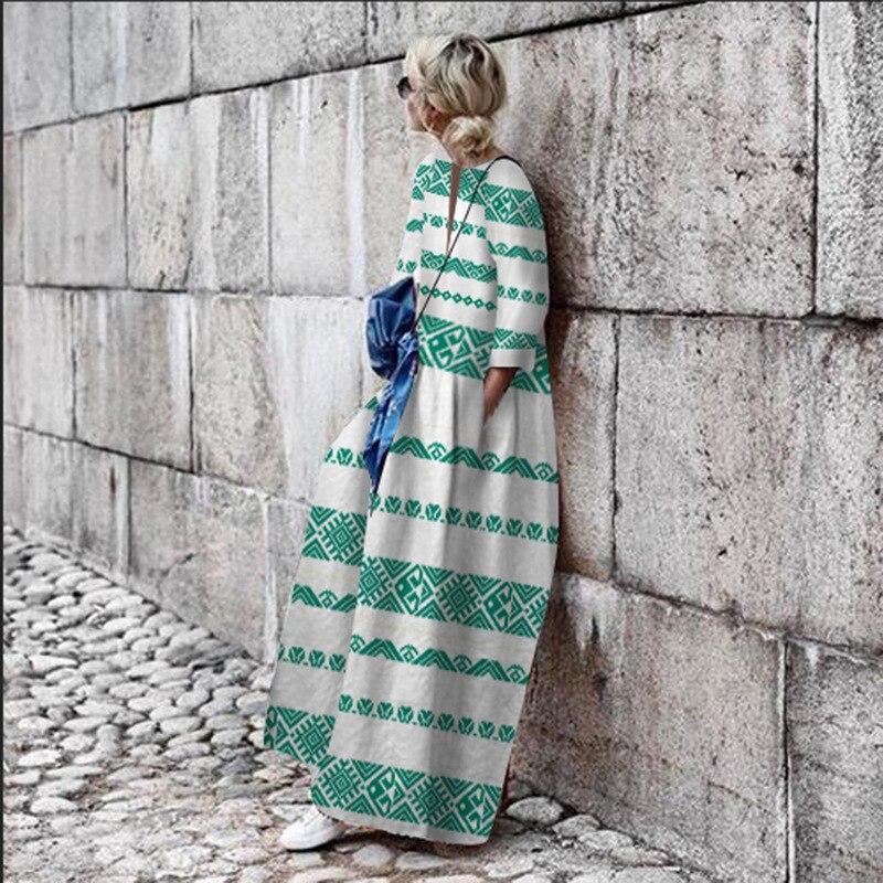 Women Print 2019 Fashion Boho Beach Dress Casual Loose Autumn Dress Elegant Geometric Female Sundress