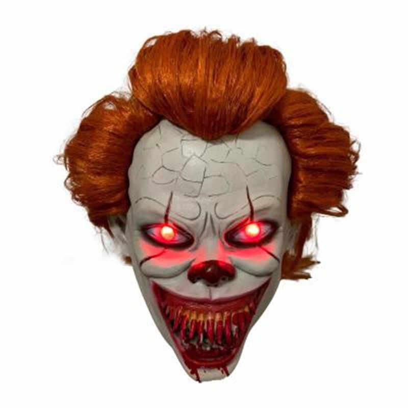 LED Spaventoso Stephen King Maschera In Lattice È Capitolo 2 Pennywise Pagliaccio Cosplay Flash Maschere di Halloween Sanguinante Costume Party Props